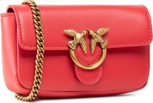 Czerwona torebka Pinko matowa na ramię
