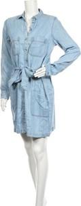 Niebieska sukienka Salsa z kołnierzykiem z długim rękawem w stylu casual