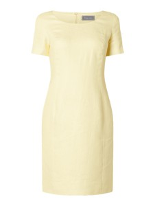 Żółta sukienka White Label z krótkim rękawem mini z lnu