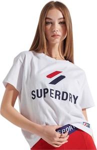 T-shirt Superdry z okrągłym dekoltem z bawełny z krótkim rękawem