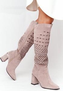Kozaki Lewski Shoes ze skóry na obcasie