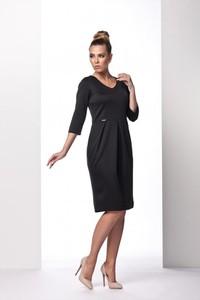 Czarna sukienka TAGLESS z dekoltem w kształcie litery v z długim rękawem