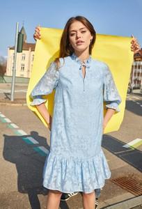 Niebieska sukienka ORSAY z długim rękawem mini w stylu casual