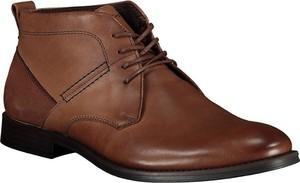 Brązowe buty zimowe Lavard ze skóry sznurowane