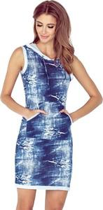 Sukienka MORIMIA w młodzieżowym stylu z jeansu z dekoltem w kształcie litery v