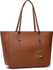 Brązowa torebka Ralph Lauren matowa na ramię duża