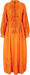 Pomarańczowa sukienka Y.A.S z długim rękawem z bawełny z dekoltem w kształcie litery v