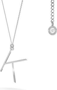 GIORRE Srebrny naszyjnik z literką, alfabet, srebro 925 : Kolor pokrycia srebra - Pokrycie Jasnym Rodem, Litera - K