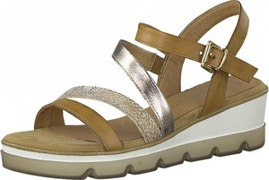 Brązowe sandały Marco Tozzi ze skóry na platformie w stylu casual