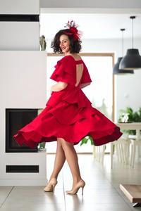 Czerwona sukienka Pastelove Motyle hiszpanka