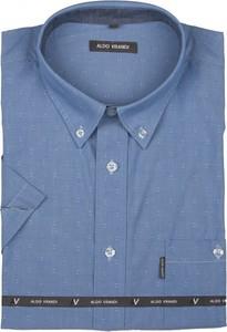Niebieska koszula Aldo Vrandi z bawełny z kołnierzykiem button down