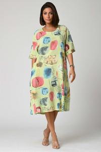 Sukienka Plus Size Fashion z okrągłym dekoltem z długim rękawem