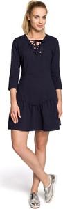 Sukienka MOE w stylu casual mini z długim rękawem