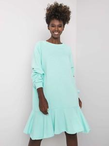 Turkusowa sukienka Fancy z długim rękawem z okrągłym dekoltem