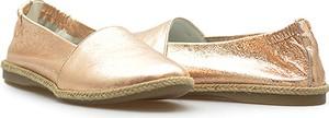 Złote baleriny DI LUSSO w stylu klasycznym ze skóry z płaską podeszwą