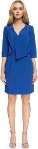 Niebieska sukienka Stylove mini kopertowa z dekoltem w kształcie litery v