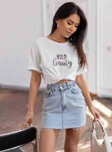 T-shirt SELFIEROOM z bawełny z krótkim rękawem z okrągłym dekoltem