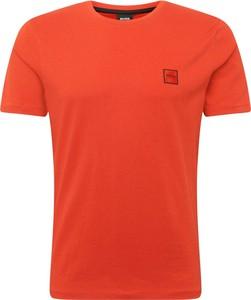 Pomarańczowy t-shirt Boss z krótkim rękawem w stylu casual z dżerseju