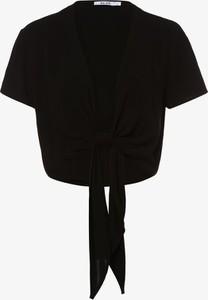 Czarna bluzka NA-KD z krótkim rękawem z okrągłym dekoltem