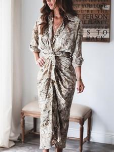 Sukienka Elegrina z dekoltem w kształcie litery v maxi