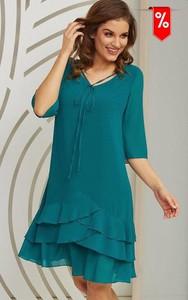 Zielona sukienka Kaskada w stylu casual z długim rękawem mini