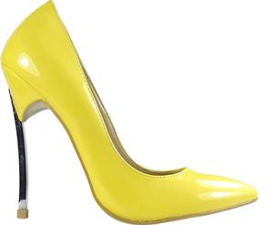 Żółte szpilki Kokietki ze skóry ekologicznej na szpilce