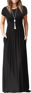 Czarna sukienka Sandbella z krótkim rękawem maxi