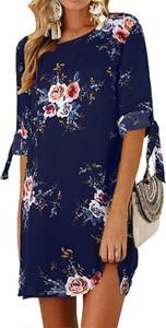 Granatowa sukienka Arilook prosta z okrągłym dekoltem w stylu casual
