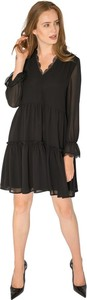 Czarna sukienka Milena Płatek mini z dekoltem w kształcie litery v z długim rękawem