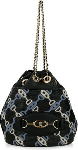 Czarna torebka Elisabetta Franchi w wakacyjnym stylu lakierowana