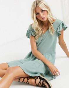 Zielona sukienka Asos mini z krótkim rękawem