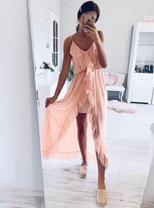Sukienka Pakuten na ramiączkach asymetryczna mini