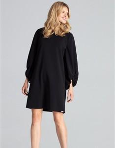 Czarna sukienka Figl mini z długim rękawem