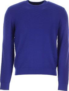 Niebieski sweter Emporio Armani w stylu casual z wełny z okrągłym dekoltem