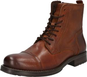 Brązowe buty zimowe Jack & Jones ze skóry