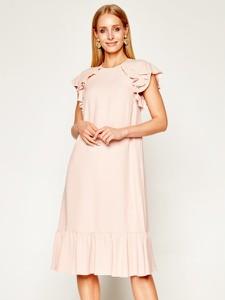 Różowa sukienka Red Valentino z krótkim rękawem midi prosta