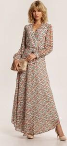Sukienka Renee z dekoltem w kształcie litery v w stylu boho z długim rękawem