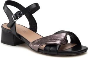 Czarne sandały Lasocki na obcasie ze skóry