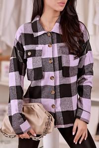 Fioletowa koszula IVET w stylu casual z długim rękawem