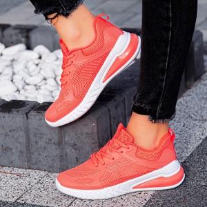 Czerwone buty sportowe sklep-szpilka24 z tkaniny z płaską podeszwą sznurowane