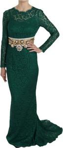 Sukienka Dolce & Gabbana z jedwabiu z okrągłym dekoltem