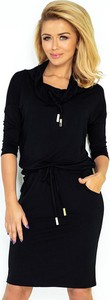 Czarna sukienka NUMOCO z golfem w sportowym stylu midi