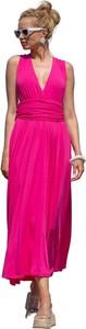 Różowa sukienka Fobya maxi z dekoltem w kształcie litery v