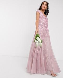 Różowa sukienka Beauut maxi bez rękawów