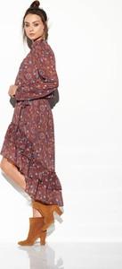 Sukienka FLORENCE z jedwabiu asymetryczna z długim rękawem