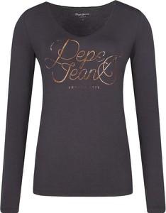 Czarna bluzka Pepe Jeans z okrągłym dekoltem w stylu casual z długim rękawem