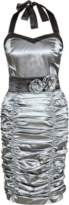 Srebrna sukienka Fokus z krótkim rękawem