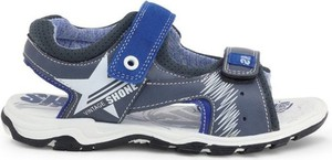Granatowe buty dziecięce letnie Shone na rzepy z tkaniny