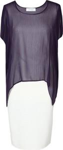 Sukienka Fokus z krótkim rękawem asymetryczna z okrągłym dekoltem