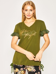 Zielony t-shirt Liu-Jo z dekoltem w kształcie litery v